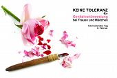 cut rose blossom blood and knife isolated on a white background with german text Keine Genitalverstummelung bei Frauen und Madchen that means zero tolerance for FGM international day date 6 february poster
