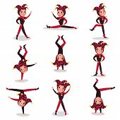 Set of joker cartoon character actions. Boy clown in black and red costume, cap and bells. Traditional jester or festival fool wear. Acrobatic performance. Flat vector illustration isolated on white. poster