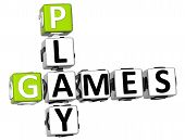 3D Play Games Crossword on white background poster