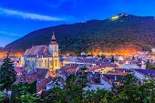Brasov Transylvania. Romania. Panoramic view of the old town and Tampa mountain. poster