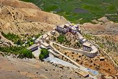 Aerial view of Ki Gompa (also spelled Key or Kee) is a Tibetan Buddhist monastery - the biggest monastery of Spiti Valley.  Spiti Valley, Himachal Pradesh, India poster