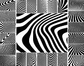 Collection of wavy zebra-like vector stripe patterns poster