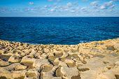 Salt evaporation ponds on Gozo island Malta poster