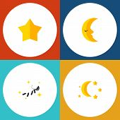 Flat Icon Night Set Of Starlet, Bedtime, Night And Other Vector Objects poster