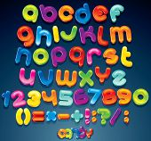 Multicolored Shiny Vector Font, available all letters, numbers and signs poster