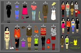 Dress up paper doll. Vector set of 12 various kits of clothes.