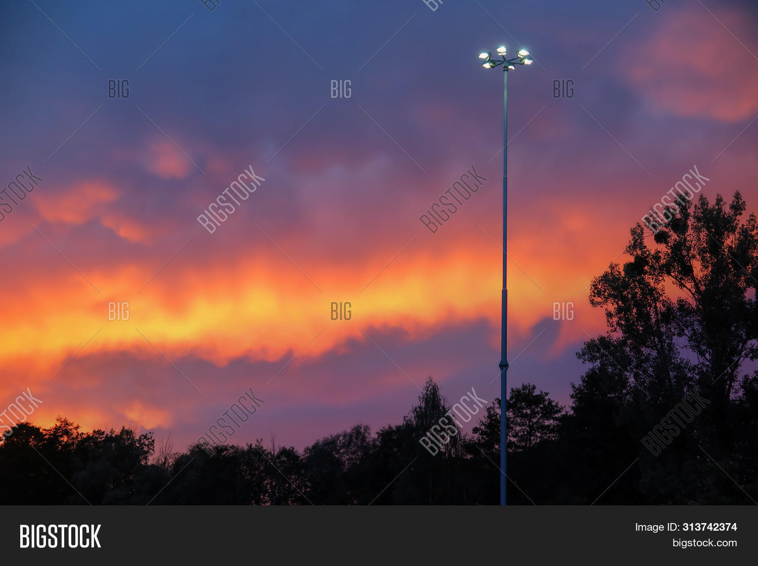 Pink Purple Sunset Image Photo Free Trial Bigstock