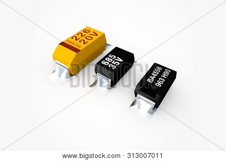Diodes And Transistors On A White Background, Electronics Based On Tantalum.