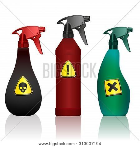 Poison Spray Bottles. Toxins, Insecticides, Pesticides, Biocides With Hazard Warning Signs. Caution