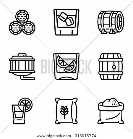 Whiskey Barrel Icon Set. Outline Set Of 9 Whiskey Barrel Vector Icons For Web Design Isolated On Whi