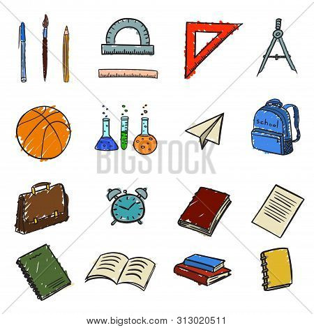 Set Of Icons With School Elements On Return To School In Doodle Style Isolated In Color. Vector Illu