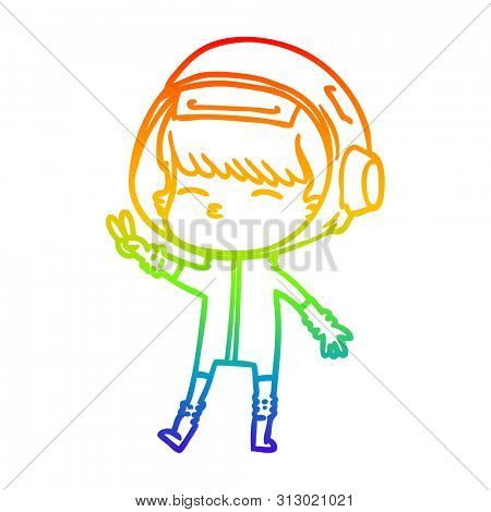 rainbow gradient line drawing of a cartoon spacegirl making peace sign
