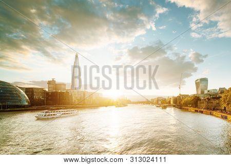 sunset from Tower Bridge, London, UK
