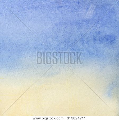 Abstract Watercolor Background. Smooth Color Transition From Light Blue To Gently Orange. Hand-drawn