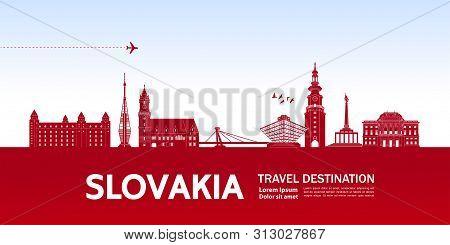 Ukrain Pink Travel Destination Vector Illustration.