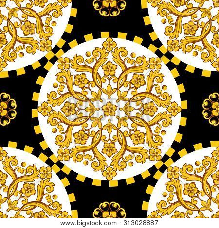 Seamless Trendy Barocco Background. Golden Ornamemtal Round Mandala With Checkered Border