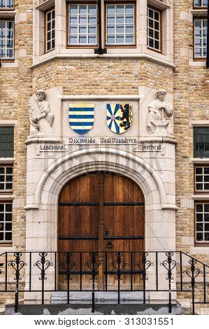 Diksmuide, Flanders, Belgium -  June 19, 2019: Grote Markt. Monumental Entrance To City Hall Or Stad