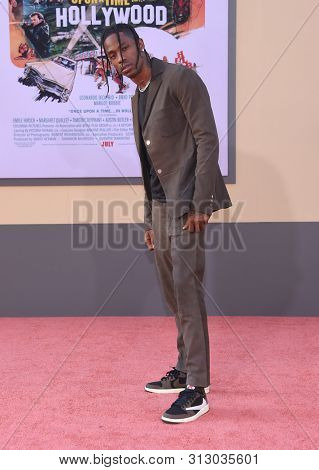 LOS ANGELES - JUL 22:  Travis Scott arrives for the 'Once Upon A Time In Hollywood' Los Angeles Premiere on July 22, 2019 in Hollywood, CA