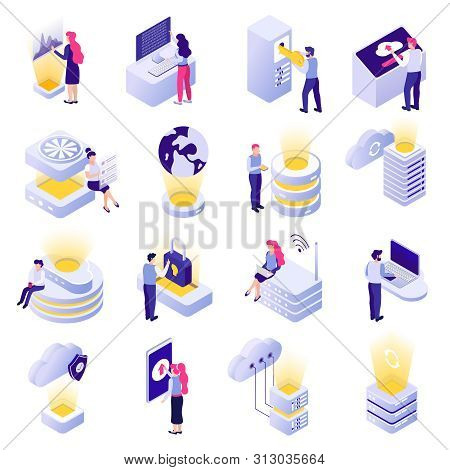Datacenter Isometric Icons Collection With Cloud Data Storage Processing Analysis Worldwide Access S