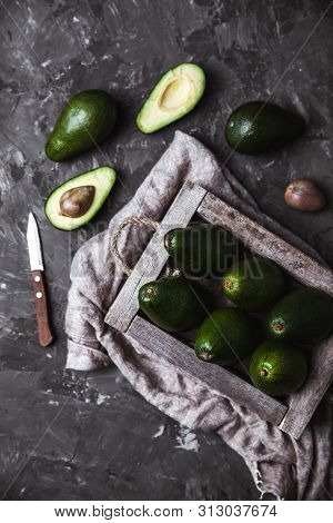 Avocado. Healthy Food On The Table. Vintage Wooden Box