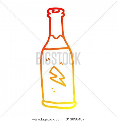 warm gradient line drawing of a cartoon cheap drink