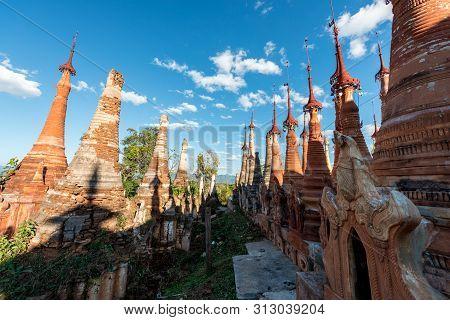 Horizontal Picture Of Beautiful Architecture Stupas At Indein Temple, Landmark Of Inle Lake, Myanmar