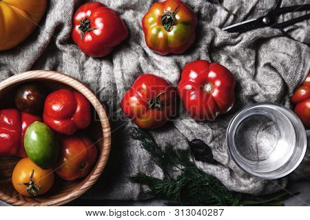 Fresh Cherry Tomatoes On Wooden Background A