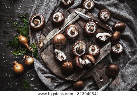 Royal Mushrooms On A Kitchen Towel. Cooking Of Dishes A