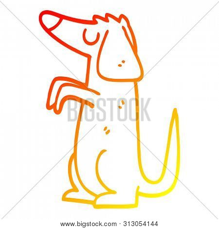 warm gradient line drawing of a cartoon well behaved dog