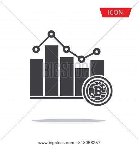 Bitcoin Bar Chart Trend Pictograph Icon Vector Isolated On White Background.