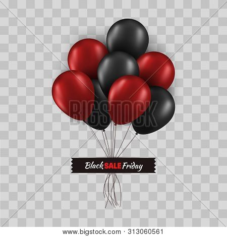 Black Friday Promo Concept. Bunch Of Black And Red Balloons With Strings Glued With Black Tape Isola