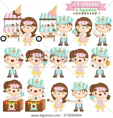A Vector Set Of Cute Boy And Girl As An Ice Cream Seller Who Is Happily Selling Various Ice Cream