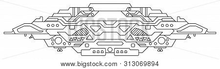 Futuristic Outer Space Battle Starship. Ufo (unidentified Flying Object) Aliens. Detailed Vector Ill