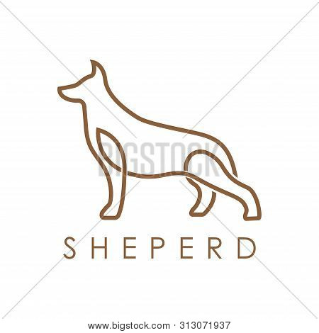 Simple Elegant Monoline German Shepherd Dog Logo Design.