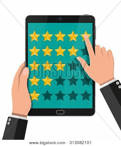 Rating App On Mobile Device. Reviews Five Stars. Testimonials, Rating, Feedback, Survey, Quality And