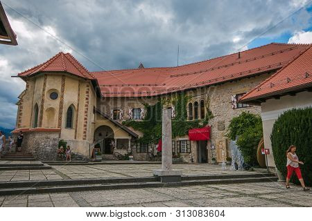 Bled, Slovenia - July 14, 2019: Bled Castle Is A Medieval Castle Built On A Precipice Above The City