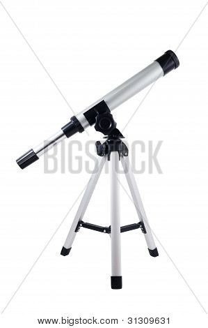Compact travel telescope isolated on white background. poster
