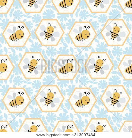 Cute Cartoon Honey Bees In Honeycomb Cells. Seamless Geometric Vector Pattern On Blue And White Flor
