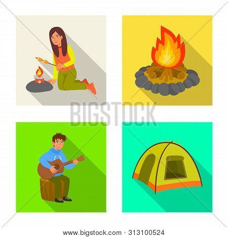 Vector Illustration Of Cookout And Wildlife Symbol. Collection Of Cookout And Rest Stock Vector Illu