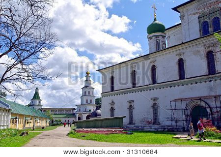 Istra, Russia - June 05, 2010: Summer Day. People  Walks Near The Voskesensky Church In New Jerusale