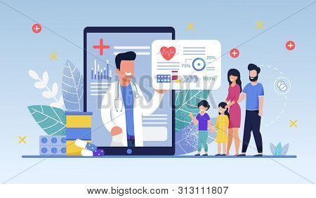 Social Media Template, Mobile App Family Doctor. Family Using Mobile Application, Control Health Ind