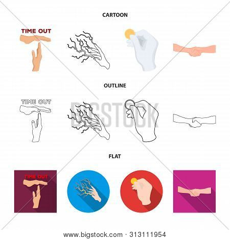 Vector Illustration Of Animated And Thumb Logo. Collection Of Animated And Gesture Stock Symbol For