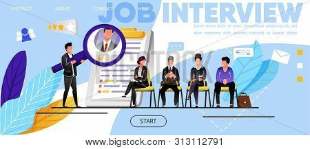 Job Interview, Recruitment. Website, Landing Page. Candidates, Men, Women Waiting Job Interview. Hea