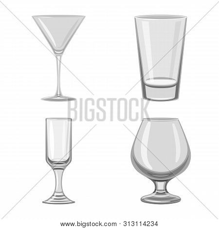 Vector Illustration Of Capacity And Glassware Icon. Collection Of Capacity And Restaurant Stock Symb
