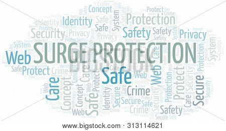 Surge Protection Word Cloud. Wordcloud Made With Text Only.
