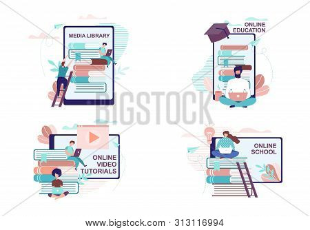 Remote Education And Training Advertisement Set. Media Library, Video Tutorials And Distant School P