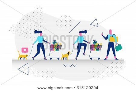 Character In Shopping Concept Illustration