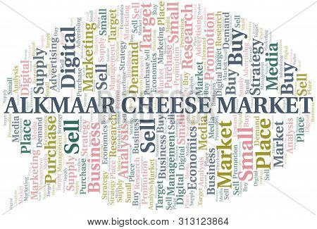 Alkmaar Cheese Market Word Cloud. Vector Made With Text Only