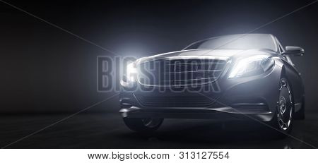 Luxurious car, limousine in garage with lights turned on. Vip transport. Generic and brandless yet contemporary and elegant look. 3D illustration