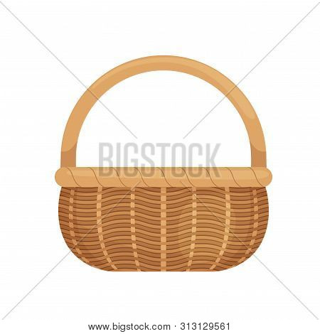 Wicker Basket With Picnic Handle. Cartoon Style. Eco-friendly. Isolated On White Background.